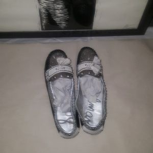 Sam Edelman black white gray loafer silver stud